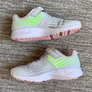 Nike grey and pink mesh Velcro shoes size 1